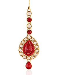 I Jewels Traditional Gold Plated Maang Tikka for Women T005R (Red)