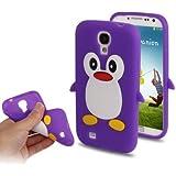 Coque silicone cartoon Pingouin pour Samsung Galaxy S4 SIV i9500 violet