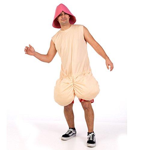 Zwei Mann Witziges Kostüm - Crazy Penis Fun Kostüm Herren zur Junggesellenabschied Party 2-tlg Hut und Oberteil - M