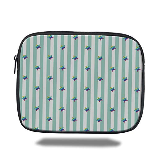 Laptop Sleeve Case,Star,Retro Style Pattern with Vertical Stripes and Rainbow Colored Stars Joyful Hipster Decorative,Multicolor,Tablet Bag for Ipad air 2/3/4/mini 9.7 inch -