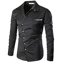 Blusa de Hombre by BaZhaHei, Camisa de Manga Larga de algodón con Cuello en V de Moda Casual de algodón de los Hombres de Camisetas de Manga Larga con ...