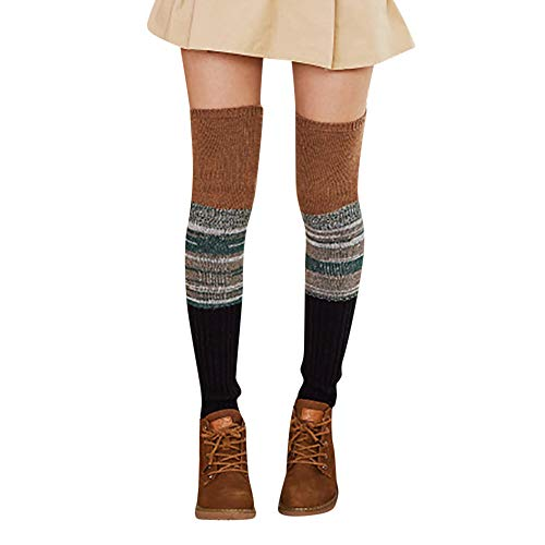 UJUNAOR Damen Patchwork Strümpfe Socken Winter Dicke Über die Kniestrümpfe Beinärmel Leggings(C,One Size) -
