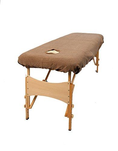 TowelsRus Couverture Classic De Massage , pour Table de masssage ,avec orifice (Trou) pour le Visage , Tissu Extensible en Plolycoton , Mocha (brun)