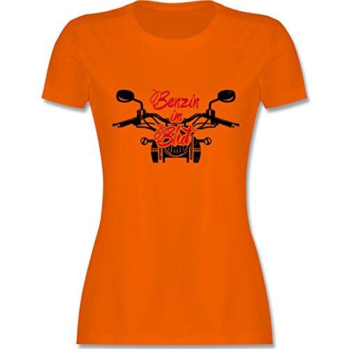 Motorräder - Benzin im Blut - Motorrad - tailliertes Premium T-Shirt mit Rundhalsausschnitt für Damen Orange