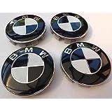 X4BMW rueda de aleación de blanco y negro insignia Logo Hub Emblema Centro Cubierta Caps 68mm E39E60F10F12F20F30F32G11G30x1X3X4X5X6134567Series M3M5M6Z3Z4y otros modelos parte número 36–13–6-783–5363613678353636136783536