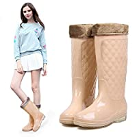 ZQDZYA Wellington Boots,Fashion Rain Boots Korean Summer High Rain Shoes Jelly Shoes Warm Plus Velvet Detachable Water Shoes Non-Slip New Rubber Shoes Rice Pink Pvc Women Wellington Boots