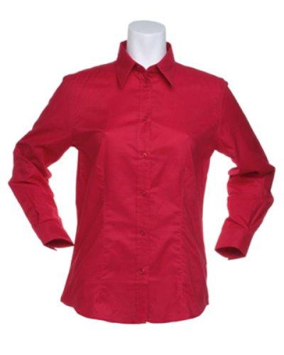 Kustom Kit Damen Pinpoint L/S SHIRT Rot - Rot