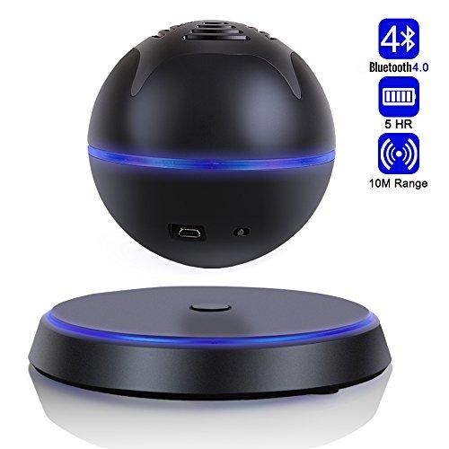 Altavoz Inalámbrico Bluetooth 4.0 Bocina Portátil Flotante Levitante para Smartphone Tabletas Ordenadores Portátiles PC y Dispositivos Bluetooth con Subwoofer de 360 Grados de Rotación(Negro)- Milool