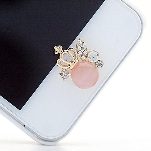 Ouneed® 3D glitzer Bling Diamond Metal Home Button Keypad Sticker Key Post for iPhone 4 4S 5 5S 6 6S For iPad (A) (Button Home Diamond)