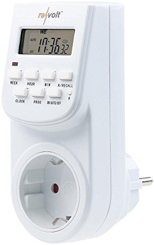 revolt Zeitschaltuhr Steckdose: Digitale Zeitschaltuhr mit LCD-Display, minutengenau, 140 Schaltzeiten (Schaltzeituhr)