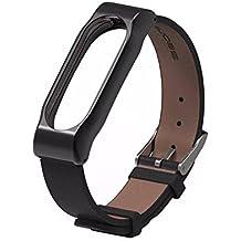 Pour Xiaomi Miband 2, Rubility® Bracelet 2 en Cattlehide Dragonne de Remplacement Pour Xiaomi Smart WristBand 2, Frame de Montre en Magnétique Métal, Vis Libre.(Brun)