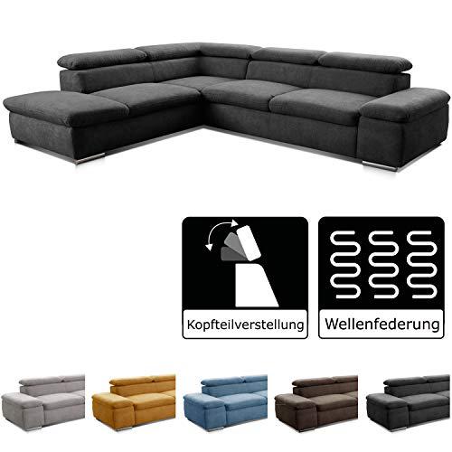 Cavadore Ecksofa Alkatraz / Großes Sofa in L-Form mit Ottomanen links und verstellbaren Kopfstützen/ Modernes Design / 274 x 66 x 228 cm / Schwarz