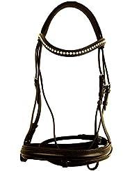Haute Qualité Bridon en cuir espagnol Onyx Noir Neuf incl. Rênes