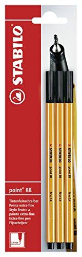 STABILO point 88 - Pack de 3 stylos-feutres pointe fine – Noir