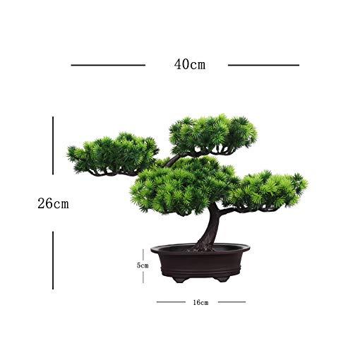 jianbo Kunstpflanze Pflanze,Japanischer Feng Shui Pinien ,Feng Shui Lucky Deko,Kunstbaum ,Höhe ca. 20 cm ,GrüN, #39 - 3