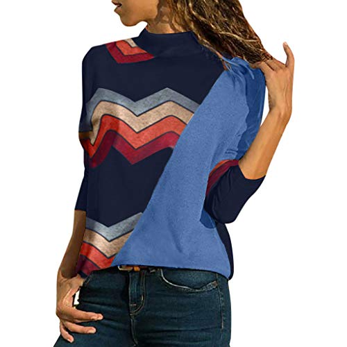 Blusa de Las Mujeres Color del Empalme, suéter de Las Mujeres de Manga Larga Fuera del Leopardo del Remiendo de la Blusa de Las señoras geométricas Top Absolute