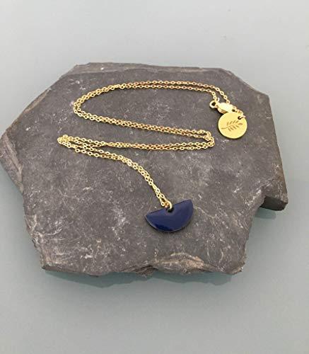 Halskette mit Anhänger Halbmond blau marine Kragen weiblich, Bijou weiblich Goldkette, golden Gem, Halskette Moon Mond, Edelstahl -