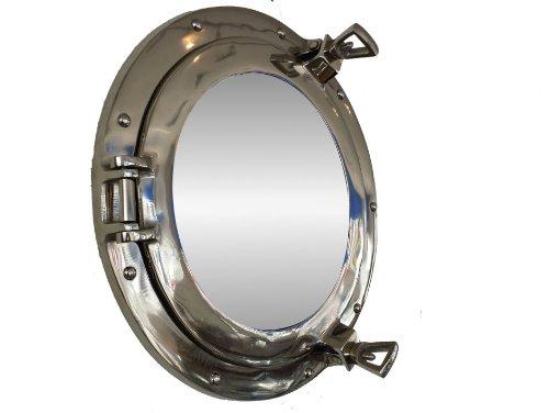 Deluxe Class chrom Bullauge Spiegel 38,1cm-Strand Thema-Bullauge (Brass Porthole Clock)