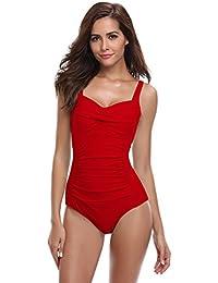 9f8efe1f7385 SHEKINI Damen Einteilige Blumen Einfarbig Badeanzug Monokini Verstellbarer  Oder Nicht Verstellbarer Schultergurt Badeanzüge Falten Bademode  Schwimmanzug