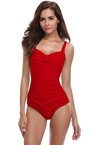 SHEKINI Damen Einteilige Gepolstert Badeanzug Einstellbar Badeanzüge Falten Bademode Schwimmanzug Monokini Blumen und Einfarbig (Medium, Rot)