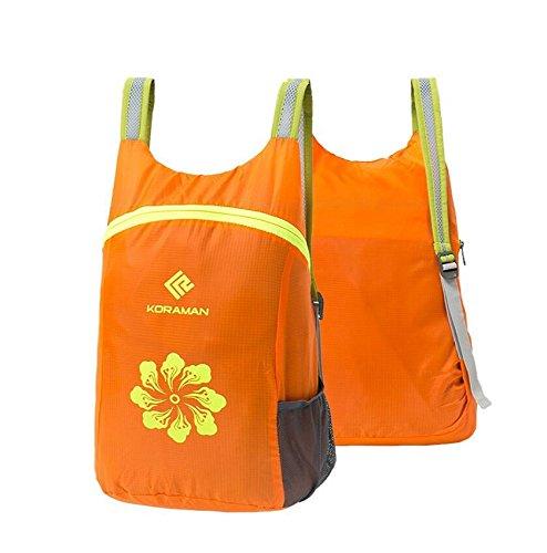 LF&F Polyester wasserdicht Männer und Frauen Outdoor-Sport-Rucksack leichte Tasche schnell trocknende Pakete Falten wasserdichte Reise Bergsteigen Rucksack Wanderrucksack Backpack Orange