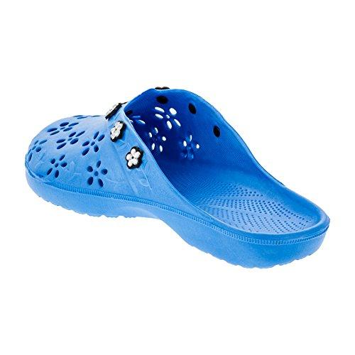 2Surf Damen Pantoletten Sandalen Latschen Strand Clogs Pantoffel in Vielen Farben. M315bl Blau