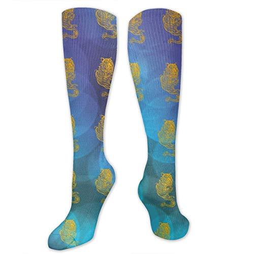 CVDGSAD Knee High Socken Yellow Tiger Compression Socken Sports Athletic Socken Tube Stockings Long Socken Funny Personalized Gift Socken for Women Teens Girls