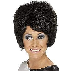 Smiffys Perruque ruche des années 60, noire, cheveux courts