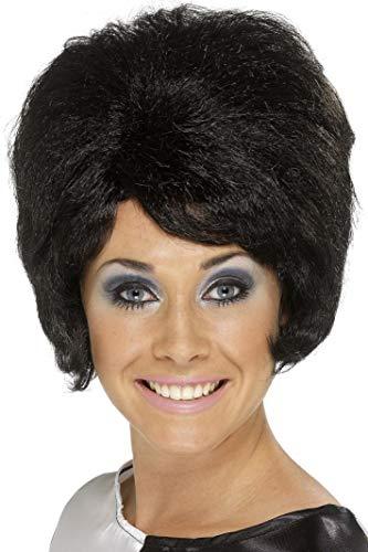 Haarspray 60er Jahre Kostüm - Smiffys, Damen 60er Jahre Bienenstock Perücke, One Size, Schwarz, 42272