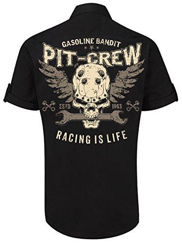 GASOLINE BANDIT Design - Rockabilly Biker Worker Racer-Hemd Kurzarm: Pit Crew XXL - Pit-crew Hemd