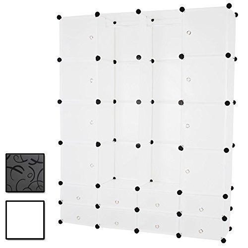 MIADOMODO DIY Kleiderschrank | mit Kleiderstange, 18 Box Fächern aus Kunststoff in Weiß | Bücherregal Regalsystem Garderobe - Stauraum-insel