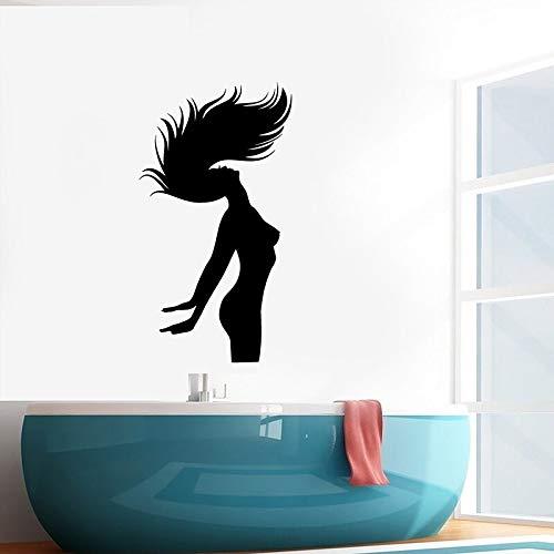 woyaofal Silhouette Frau Muster Vinyl Wandtattoo Badezimmer Entspannen Schlafzimmer Dekor Wandaufkleber Abnehmbare Raumdekoration Mura81x44cm