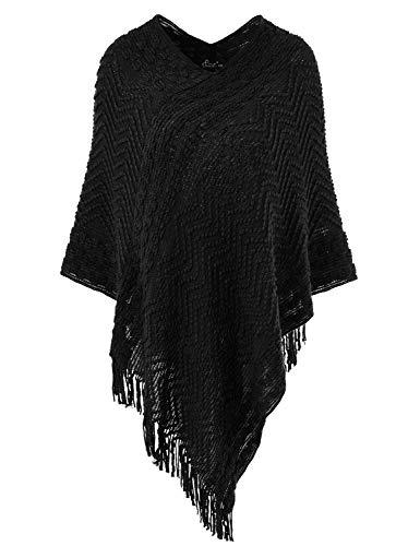 Ferand Eleganter Bequemer Damen Poncho Pullover mit Chevronstreifen und Fransen, One Size, Schwarz