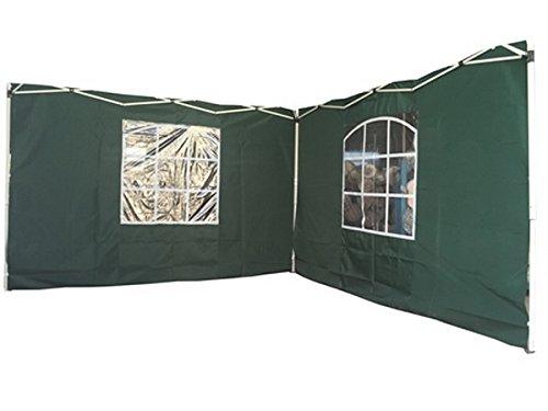 2 Seitenwände für 3x3 m Pavillion mit Fenster (300 x 200 cm) (Grün)