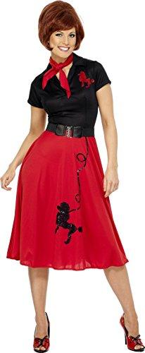 Smiffys, Damen 50er Stil Pudel Kostüm, Kleid, Halstuch und Gürtel, Größe: L, (Pudel Kinder Kostüme Kleid)