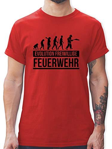 Feuerwehr - Evolution freiwillige Feuerwehr - 3XL - Rot - L190 - Tshirt Herren und Männer T-Shirts