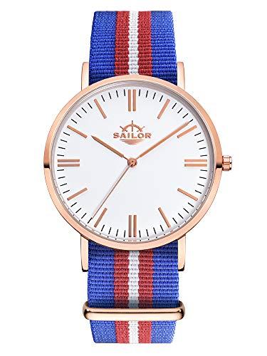 Sailor Damen Herren Uhr Classic Analog Quarz mit Nylon Armband Costa blau-rot-weiß, SL101-2006-40