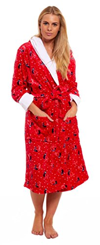 ladies-flannel-fleece-hooded-christmas-dressing-gown-navy-snowman-red-robin-xmas-novelty-cartoon-win