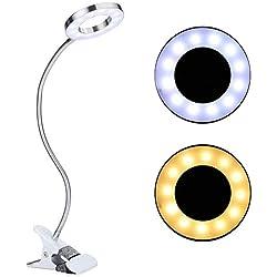 TMISHION Lámpara Lupa LED con Pinza, Lámpara de Belleza fría/Caliente Lupa Iluminada Lente de Cristal Óptico Ajustable lámpara de Aumento, Natural Recargable