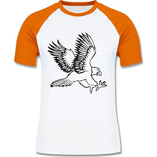 Vögel - Adler - zweifarbiges Baseballshirt für Männer Weiß/Orange