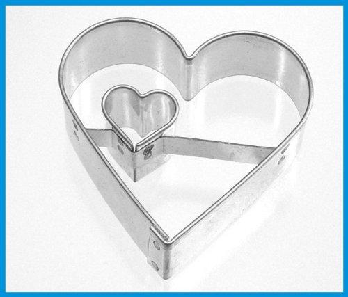 Keksausstecher Herz mit Herz 4,5 cm Edelstahl