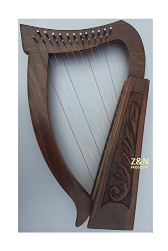 12-strings-rosewood-irish-harp-carry-bag-tunning-key