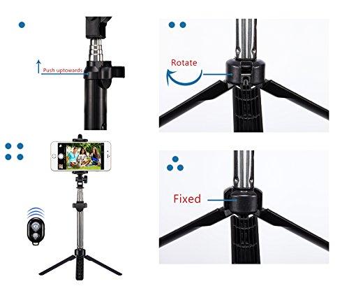 Bluetooth Selfie Stick, Alfort Multifunktionaler Selfie Stangen Erweiterbar Ausfahrbar Stab mit Stativ und Bluetooth Fernbedienung für iPhone 7 / 6S / 6 Plus / SE / 5S / 5C / 5, Samsung Galaxy S7 / S7 Edge, LG G6, HTC M9 M8, Sony Z5 Z4 Z3 Compact, Android und andere Smartphones (Schwarz) - 4