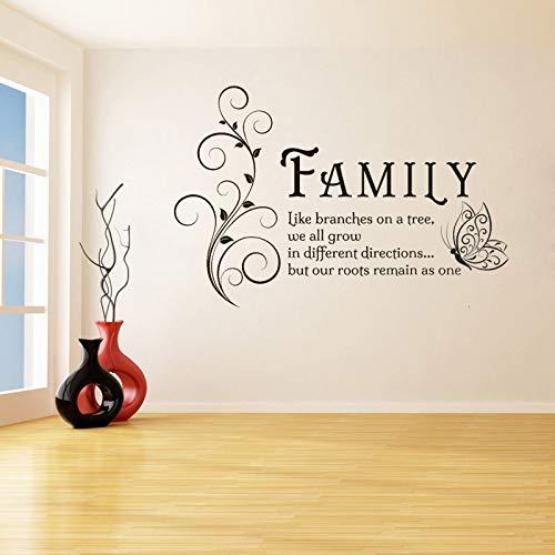 Famiglia Come Rami Farfalla Adesivi murali per Soggiorno Decorazioni per la casa Vinile Impermeabile Decorazione Camera da Letto Murales Bianco 66X42cm