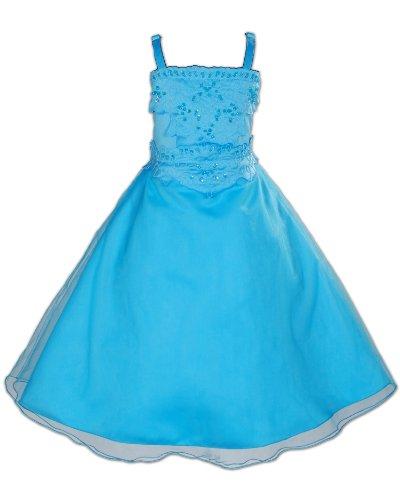 Cinda Mädchen Brautjungfer/ Partykleid Blau 122-128 (Pagent Kleider Für Kinder)