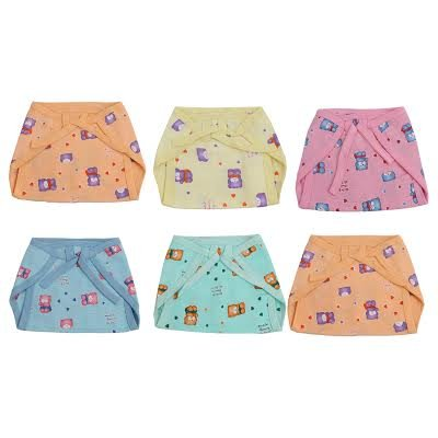 Ala-Mode-Creation-Printed-Medium-Muslin-Tying-Nappies-Pack-Of-6-Multi-Coloured-3-8-Months
