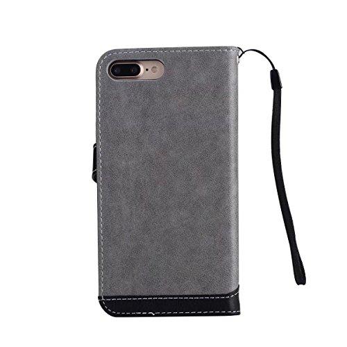 JIALUN-étui pour téléphone Case Cover Housse Flip Stand avec Lanyard & Card Slots pour iPhone 7 Plus ( Color : Gray ) Gray