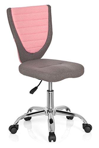 hjh OFFICE 670600 Kinderdrehstuhl KIDDY COMFORT grau pink, ganz besonders ideal für Schulanfänger, ergonomischer Kinderschreibtischstuhl, Kinderbürostuhl höhenverstellbar, Kinderbürostuhl, Jugenstuhl