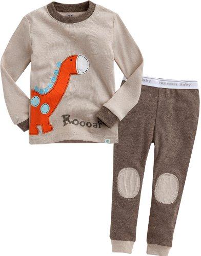 Vaenait Baby 74-122 Säugling Kinder Langarm zweiteilige Schlafanzüge Set Brown Dino M