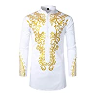 Rummyluckjp Muslim Shirt for Men, African Style Bronzing Shirts Long Sleeve Casual Long Blouse Fashion Slim Robe